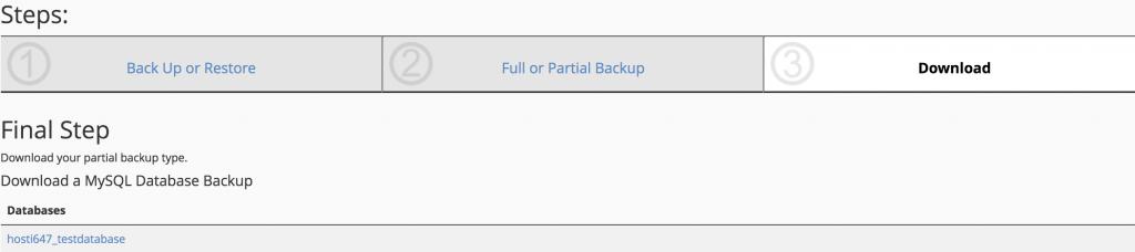 Paso final para descargar la copia de seguridad parcial