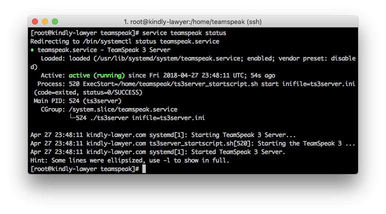 Informe de estado del servidor TeamSpeak 3