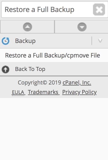 Restaurar una herramienta de copia de seguridad completa / archivo cpmove en WHM