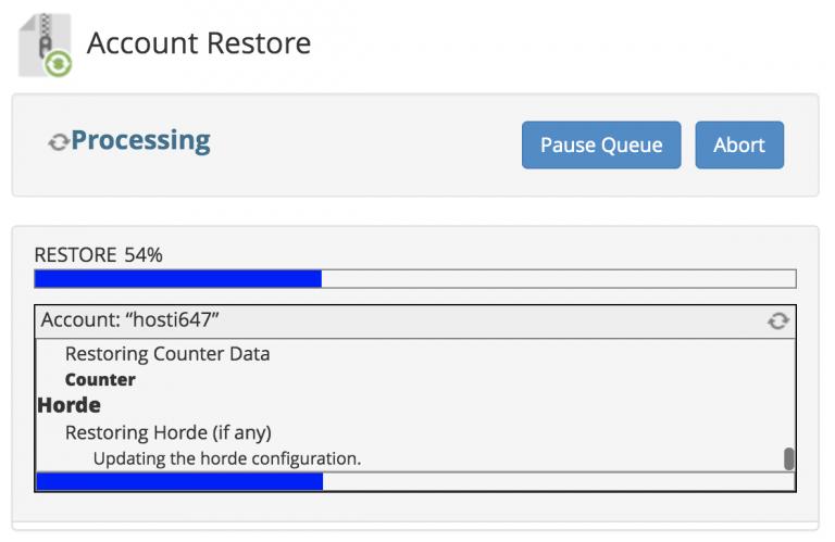 progreso de la restauración de la copia de seguridad