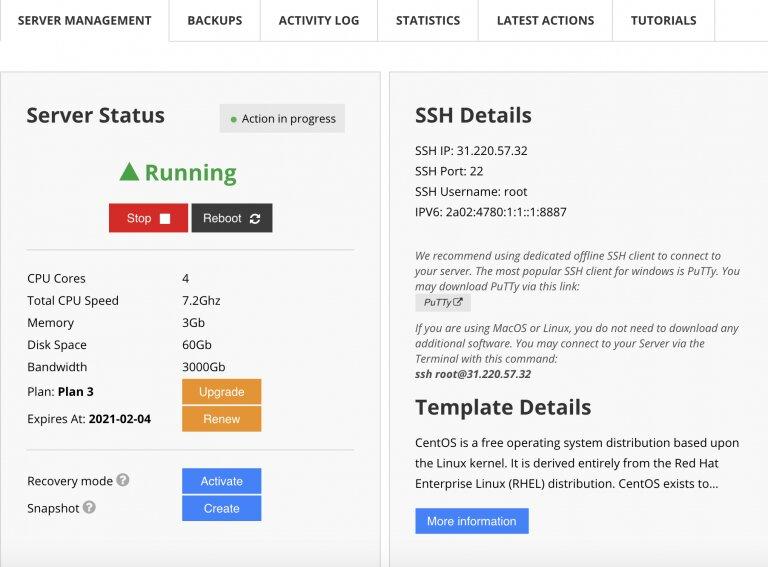 Detalles de ssh en el panel de usuario de hostinger