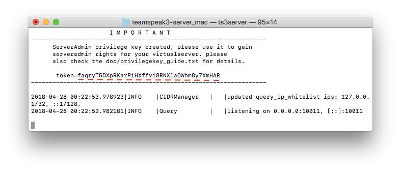 Obtener la clave privilegiada TS3 en Mac