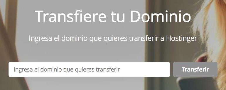 Iniciación de transferencia de dominio en Hostinger