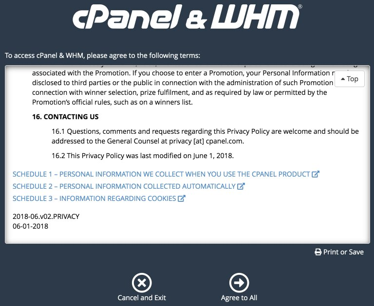 acuerdo de usuario para la configuración inicial de whm / cpanel