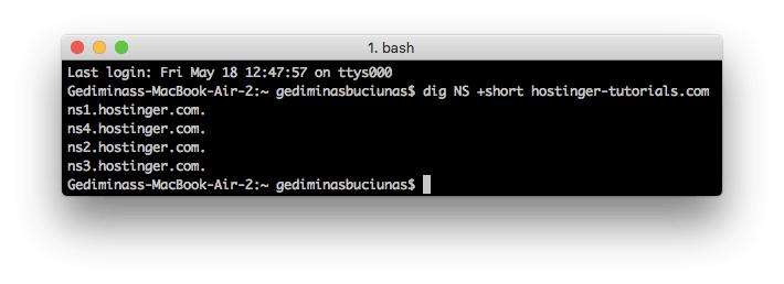 Búsqueda del servidor de nombres usando el comando dig