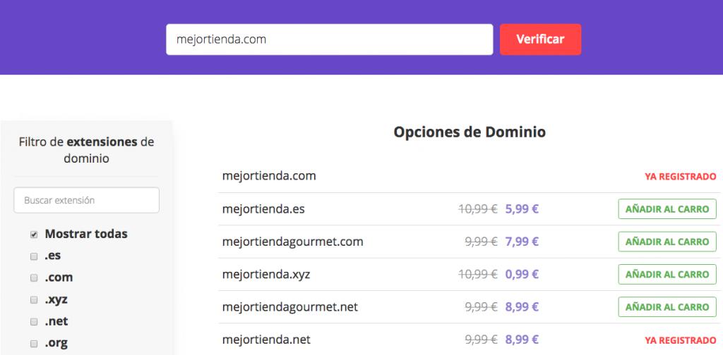 Buscando un nuevo dominio usando la herramienta de verificación de dominio