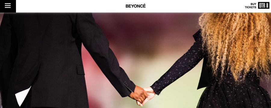 sitio web de Beyonce del artista musical
