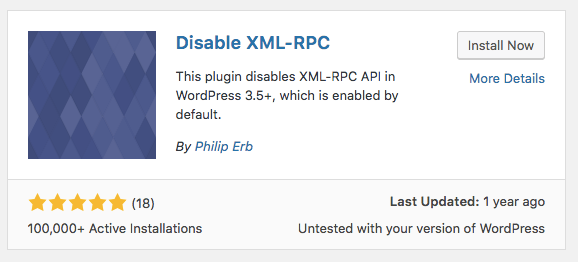 instalar el plugin Disable xmlrpc
