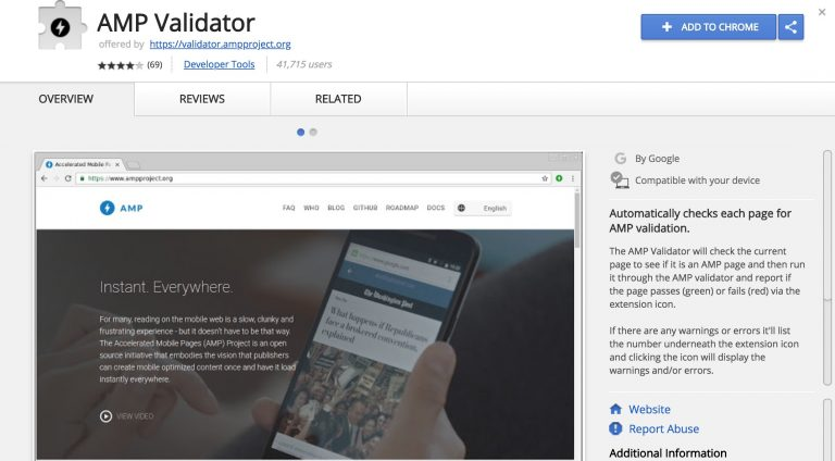 AMP Validator Extension captura de pantalla de Google Chrome