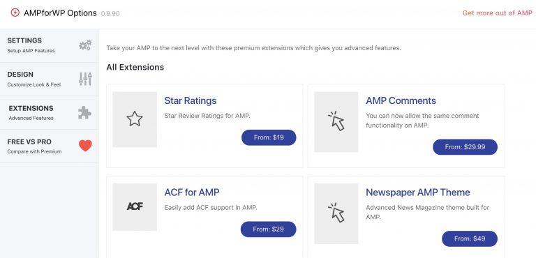 Página de extensiones AMPforWP Captura de pantalla
