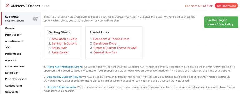 Captura de pantalla de la página de configuración del plugin AMP for WP