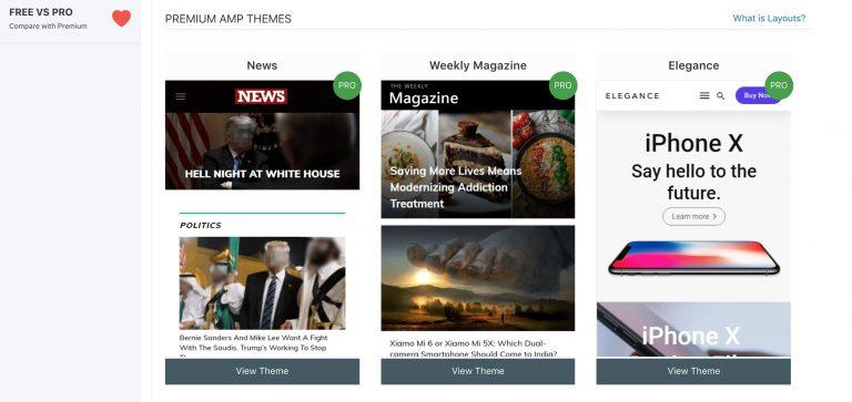 Captura de pantalla de la página de temas premium de AMPforWP