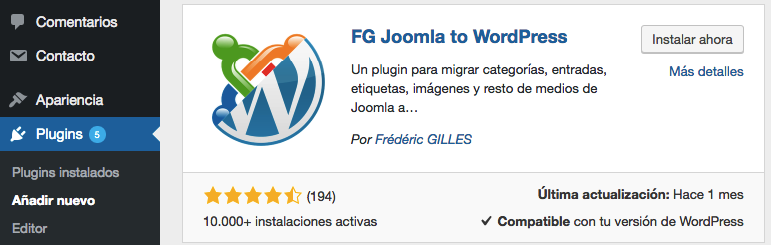 Instalando el plugin de FG Joomla to WordPress.