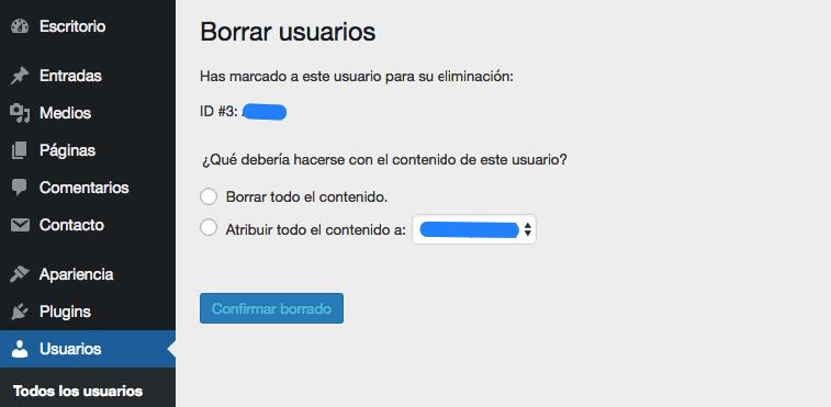 Borrando un nombre de usuario de WordPress.