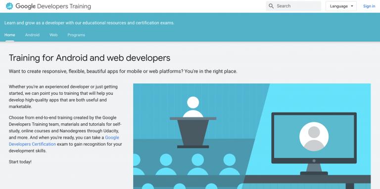 Google Developers Training programas gratuitos de codificación en línea