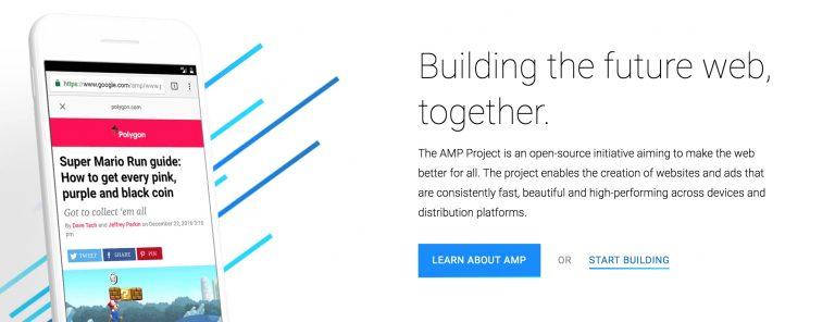 Captura de pantalla de la página principal de Google AMP