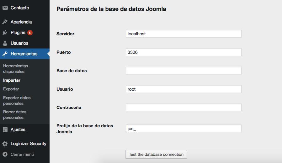 Ingresando la configuración de tu base de datos Joomla.