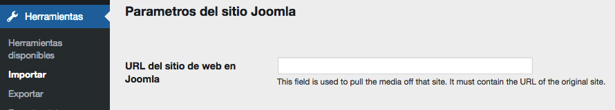 Ingresando la URL para tu sitio web de Joomla.