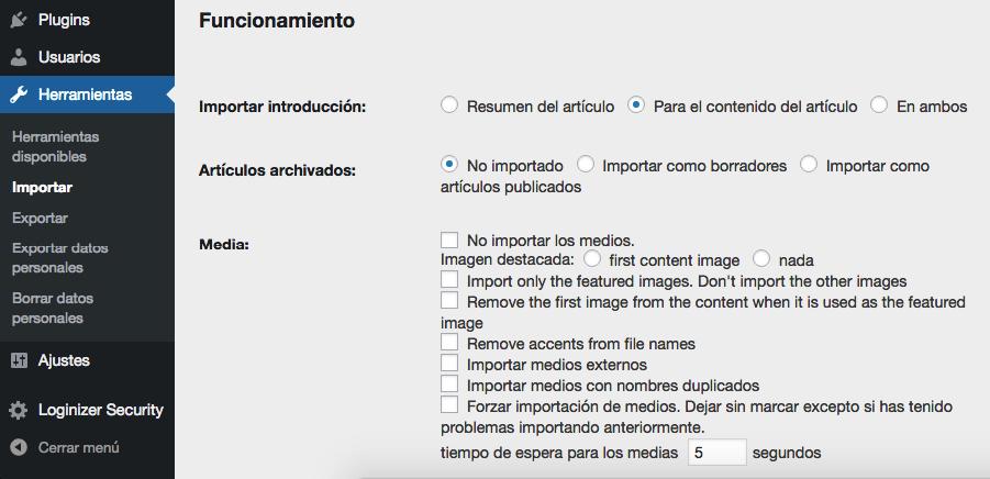 Configurando tus configuraciones de importación de medios.