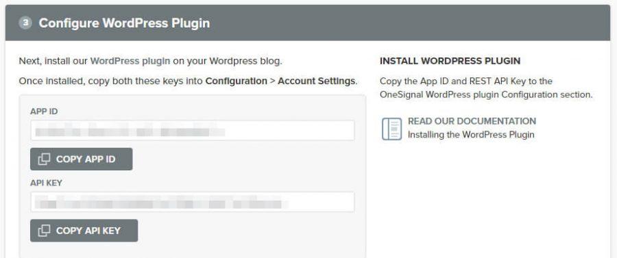 Tu APP ID y API KEY de OneSignal.