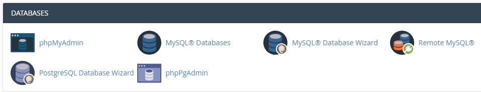 La sección de bases de datos de cPanel.