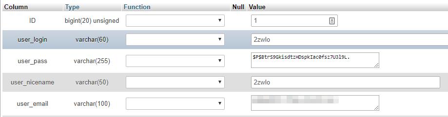 Editando los valores asociados con uno de tus usuarios a través de tu base de datos.