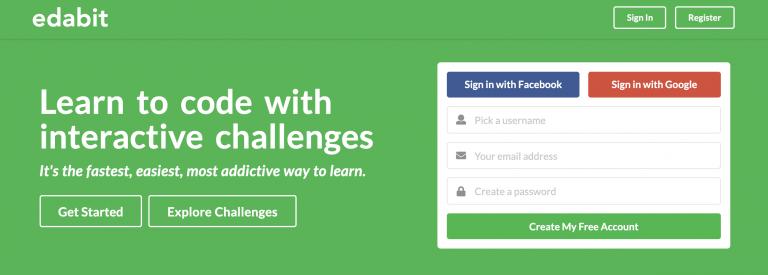 Sitio web de ayuda de codificación en línea Edabit