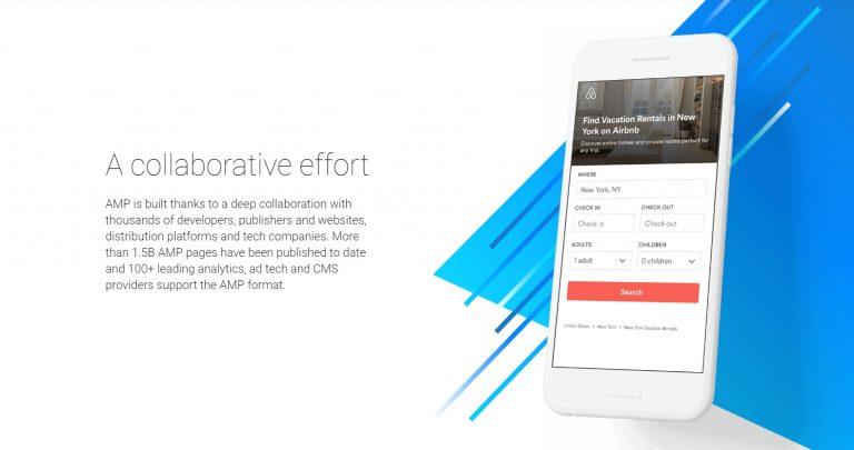Un ejemplo de un sitio web de AMP