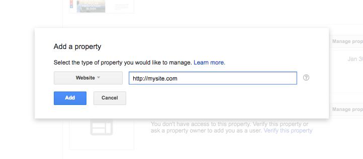 consola de búsqueda de google agregar una propiedad