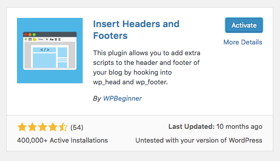 Plugin de WordPress Insert Headers and Footers