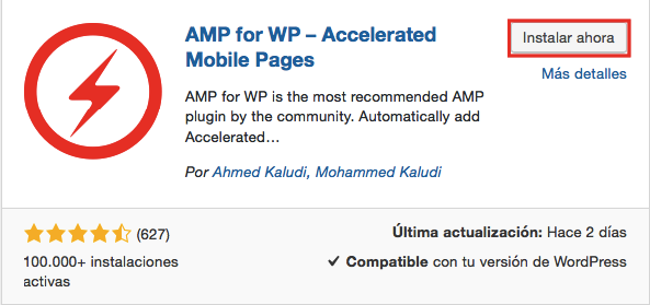 AMP for WP – Accelerated Mobile Pages Captura de pantalla de la página del plugin de WordPress