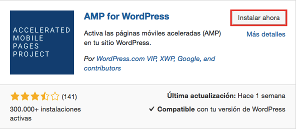 AMP for WordPress en la página de plugins de WordPress