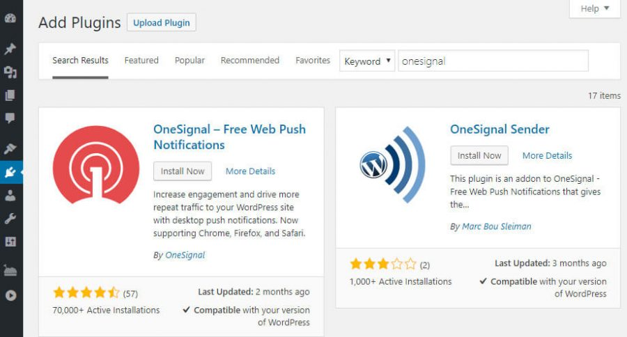 Instalar el plugin de notificación push de WordPress OneSignal