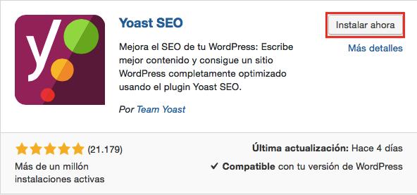 El plugin Yoast SEO que se muestra en la captura de pantalla de la página del plugin de WordPress