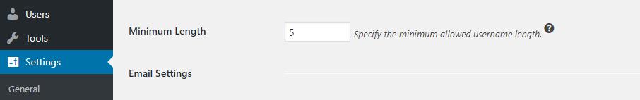 Establecer una longitud mínima para tu nombre de usuario.