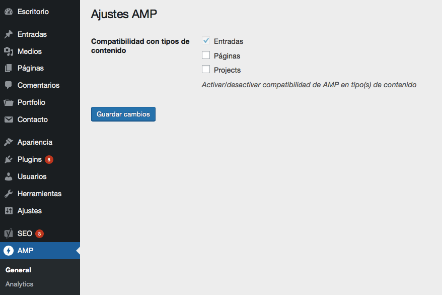Captura de pantalla de la página de configuración general de AMP for WordPress Plugin
