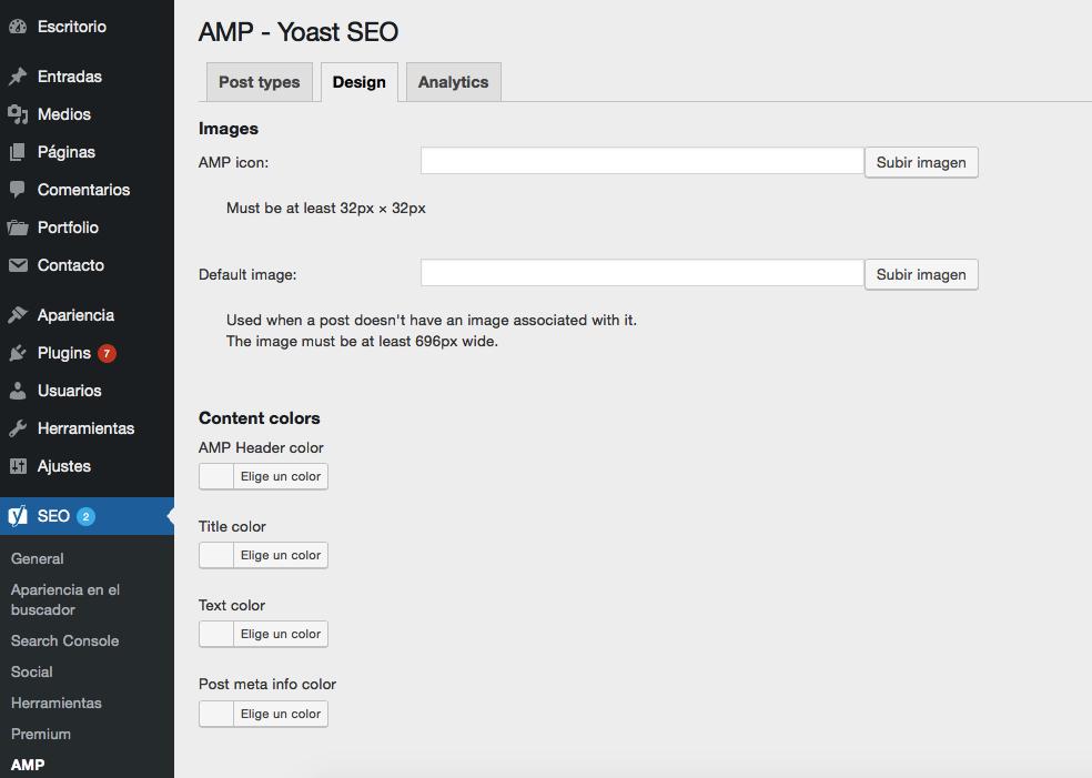 Captura de pantalla de la Pestaña Glue for Yoast SEO Diseño
