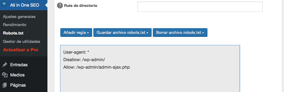 Un robots.txt en gris para WordPress.