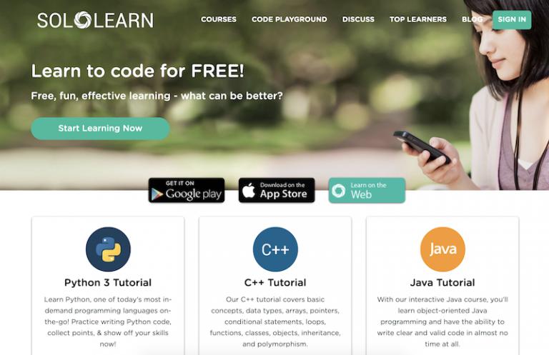 Solo Learn un sitio web en linea para aprender a codificar