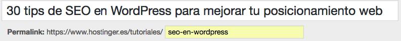 Tip SEO de WordPress - editar permalink