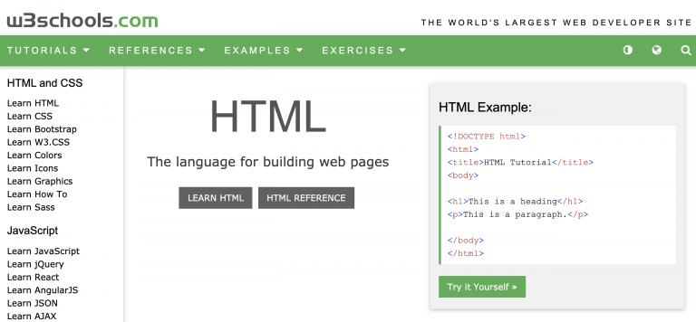 Página de inicio de W3Schools para hmtl css