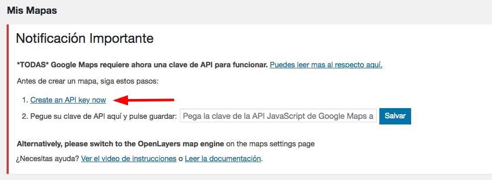 Creando una clave de API.