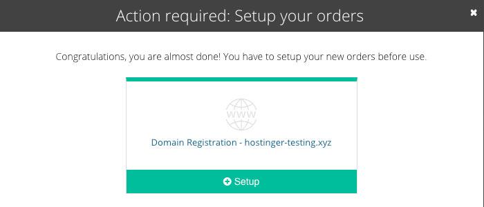 Pantalla de configuración de nombre de dominio