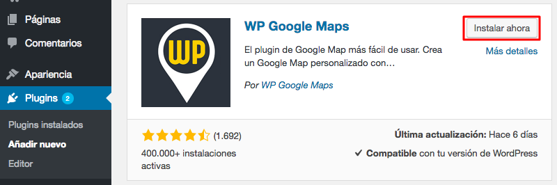 Instalación del plugin WP Google Maps.