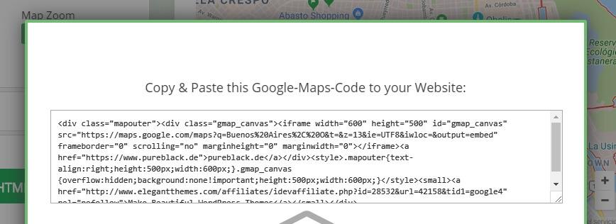 Ejemplo de un código de inserción de Google Maps.