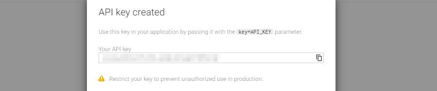Un ejemplo de una clave de Google API.