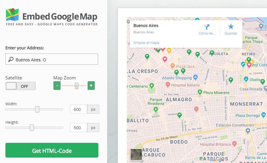 Página de inicio de Embed Google Map.