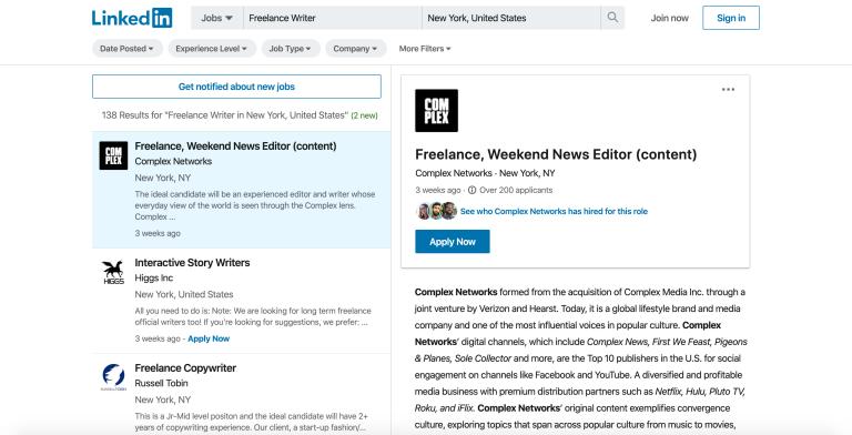 linkedin escritor freelance
