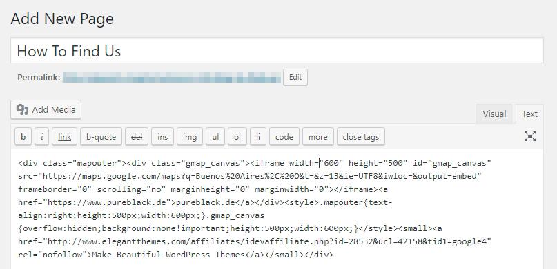 Agregar tu código de inserción al editor de WordPress.