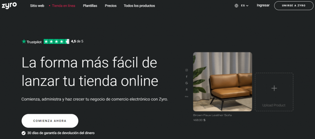 zyro plataformas de venta online